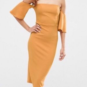 ASOS off the shoulder dress gold/mustard